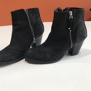 Women's Black Suede Leather Boots, Size 41